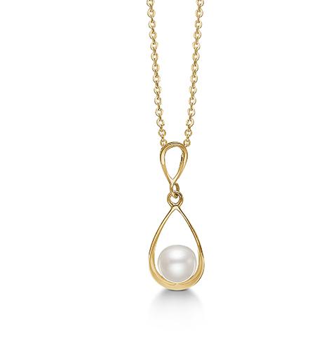 Image of   8 kt vedhæng med perle og forgyldt sølv kæde - 04332280-45