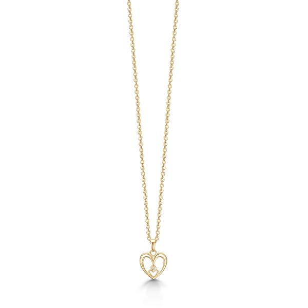 Image of   8 kt. guld hjerte vedhæng med diamant - 04332898-45
