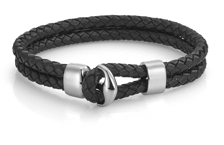 Billede af Aagaard Læderarmbånd med stål - 07103928 21 centimeter