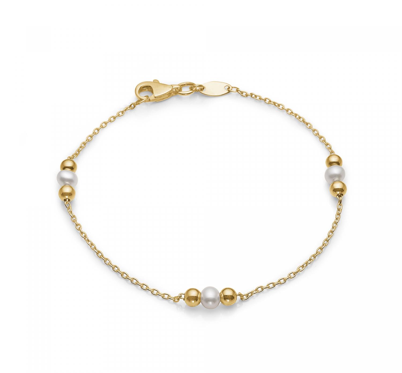 Image of   Aagaard 8 kt armbånd med perler - 08103095-18 18 centimeter