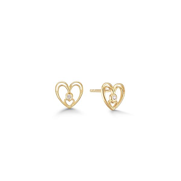 Image of   8 kt. guld hjerte ørestik med diamant - 08942898-34