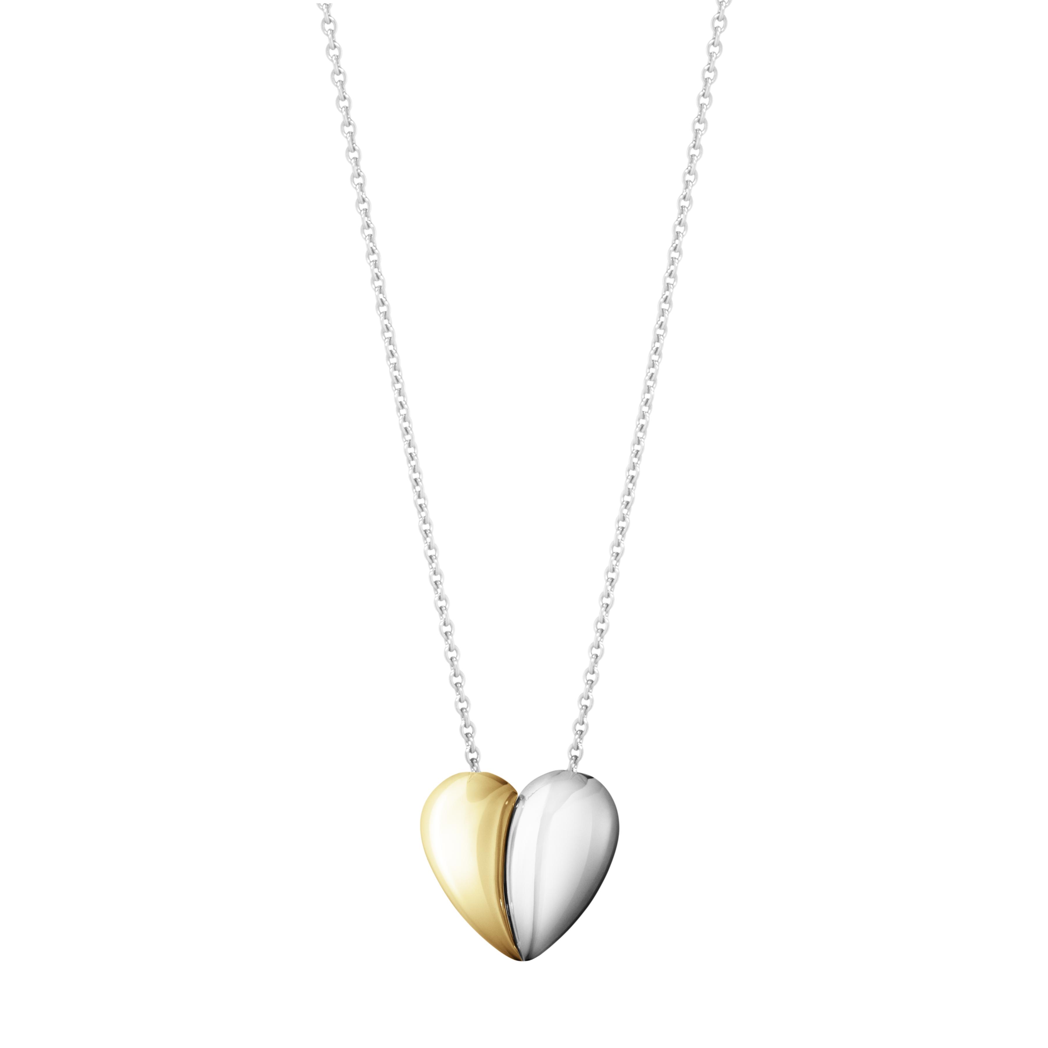 Image of Georg Jensen Curve Heart halskæde med guld - 10017505