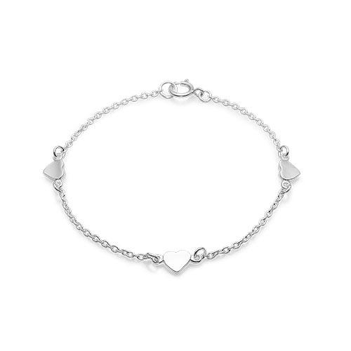 Billede af Sølv armbånd med 3 hjerter - 11103214-16