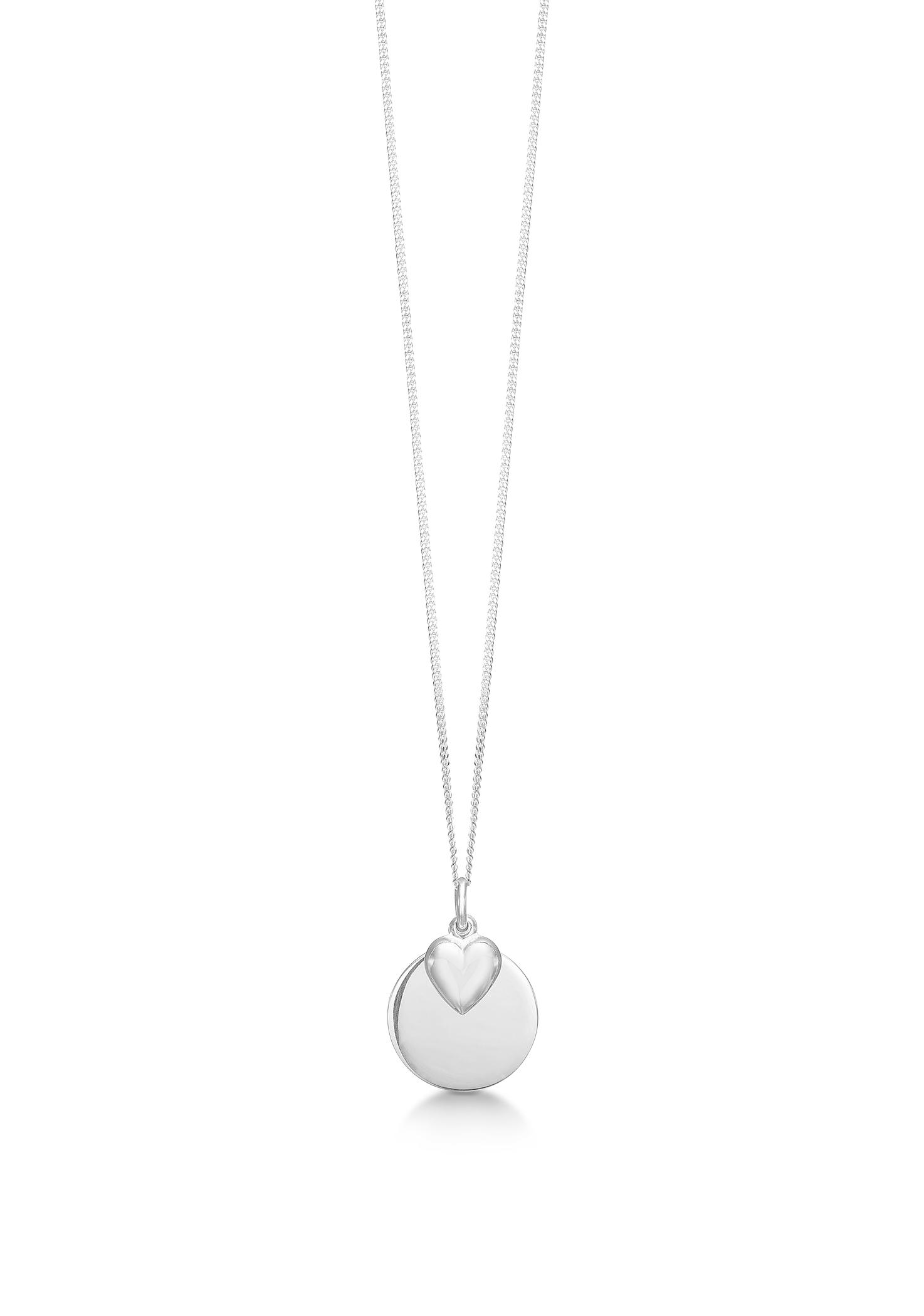 Aagaard sølv collier med blank plade & hjerte - 11302946-40