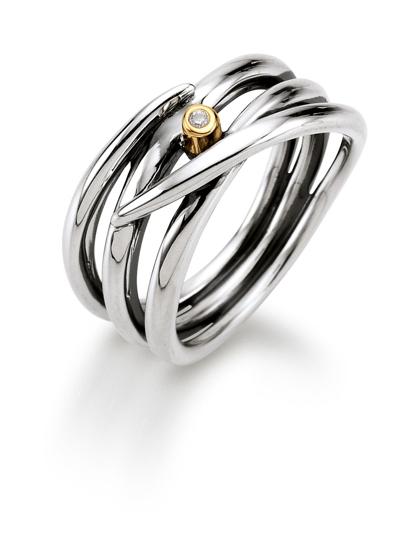 Aagaard Sølv ring med diamant og 14 kt guld - 11643863-34 Størrelse 54
