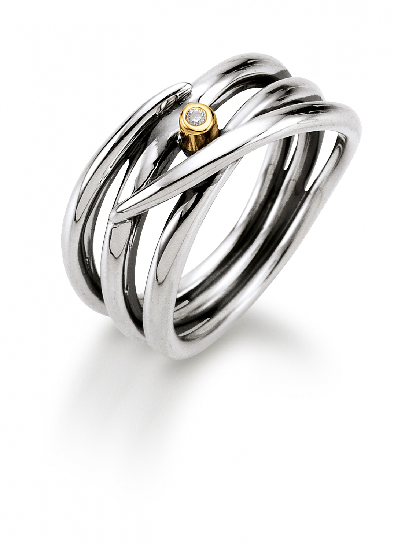 Image of   Aagaard Sølv ring med diamant og 14 kt guld - 11643863-34 Størrelse 54