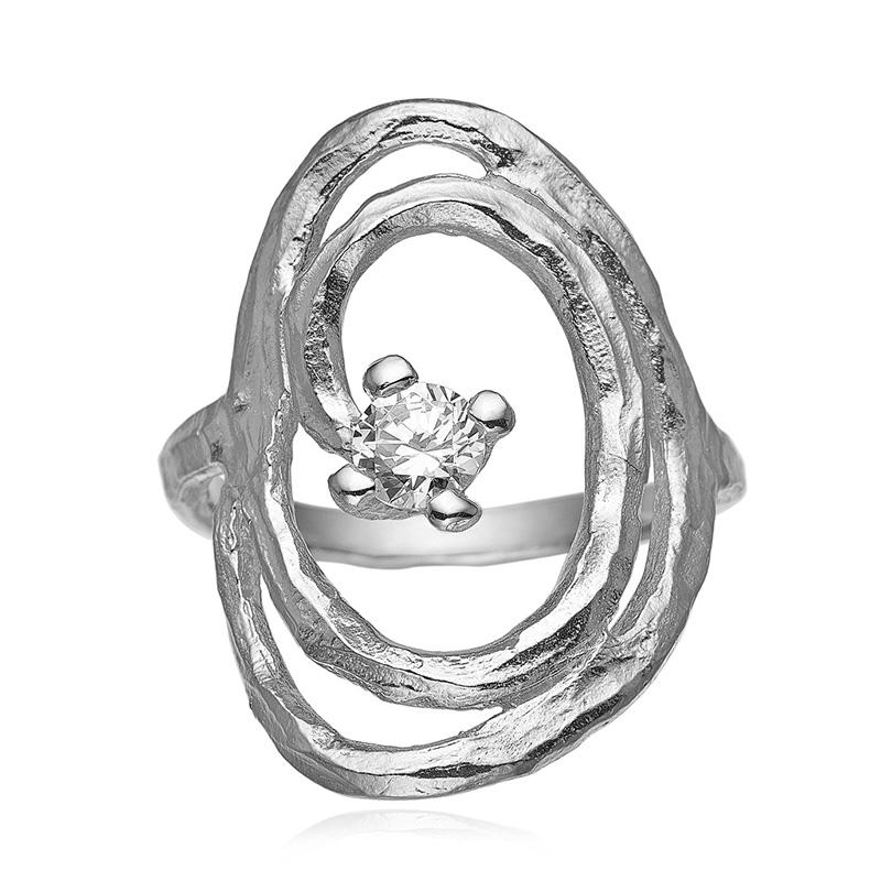 Blicher fuglsang sølv ring med zirkonia - 1285-39r størrelse 64 fra blicher fuglsang fra brodersen + kobborg