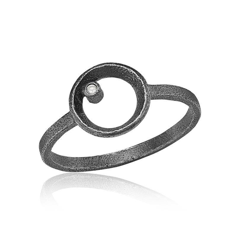 blicher fuglsang – Blicher fuglsang oxideret sølv ring - 1301-39x størrelse 55 fra brodersen + kobborg