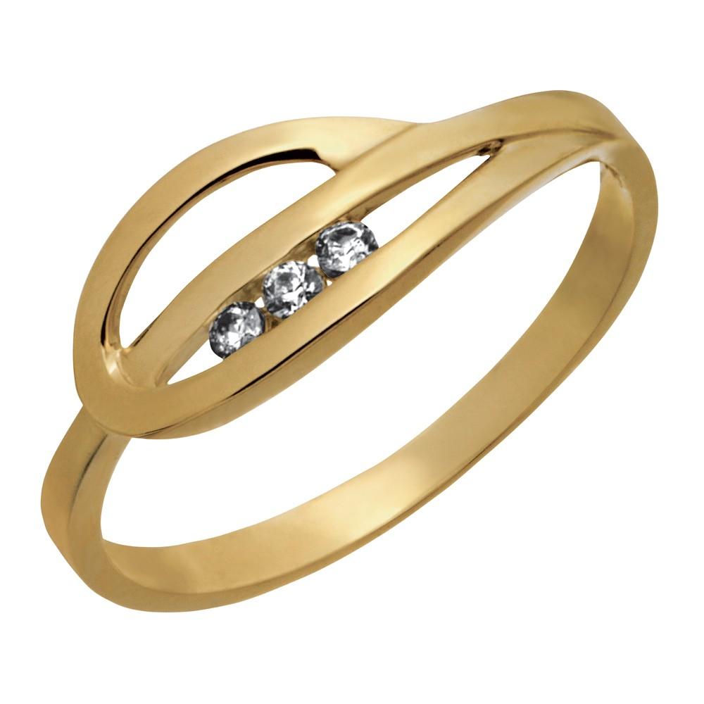 Image of   8 kt ring med zirkonia - 142 1600CZ3 Størrelse 55