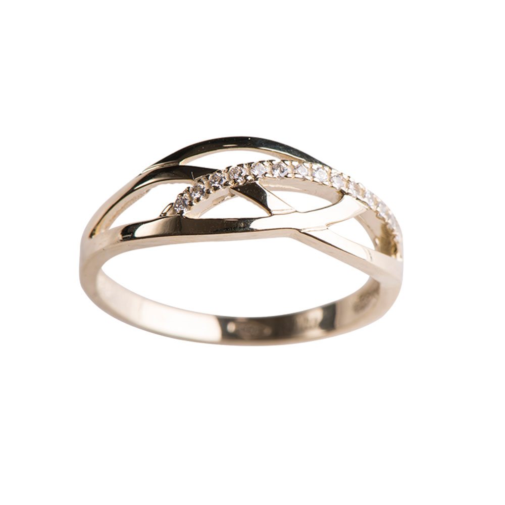Image of   8 kt ring med zirkonia - 142 785 3 Størrelse 52