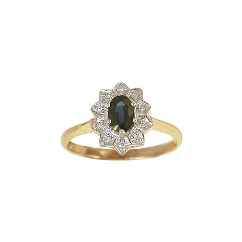 aagaard Aagaard 14 kt ring med diamanter og safir - 1463065-95r størrelse 56 på brodersen + kobborg