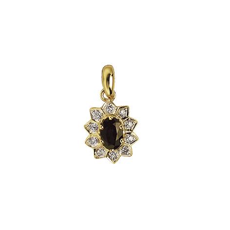 Image of   Aagaard 14 kt vedhæng med diamanter og safir - 1483065-95V