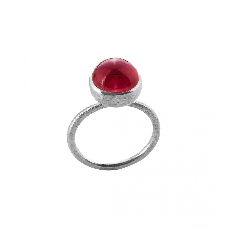 Sølv ring med sten - 1678-1-LYSERøDKRYSTAL Størrelse 52
