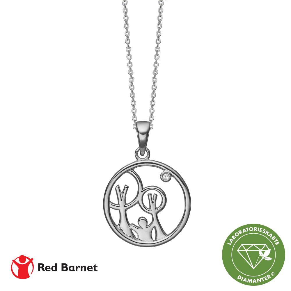 Image of AAG Red Barnet, halskæde sølv m1 x 0,01 ct /LG diamant TW/SI2