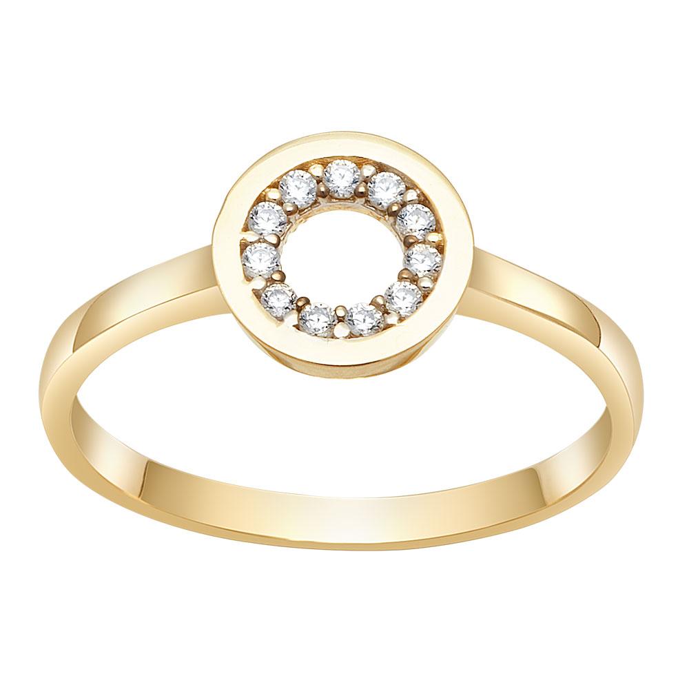 Image of   8 kt ring med zirkonia - 183 018CZ3 Størrelse 56
