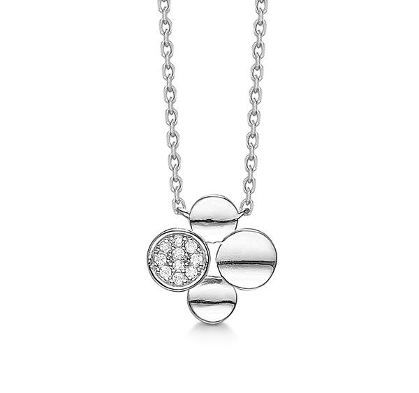 aagaard Rhodineret sølv collier med synt. zirkonia 45 cm - 21323286-45 fra brodersen + kobborg