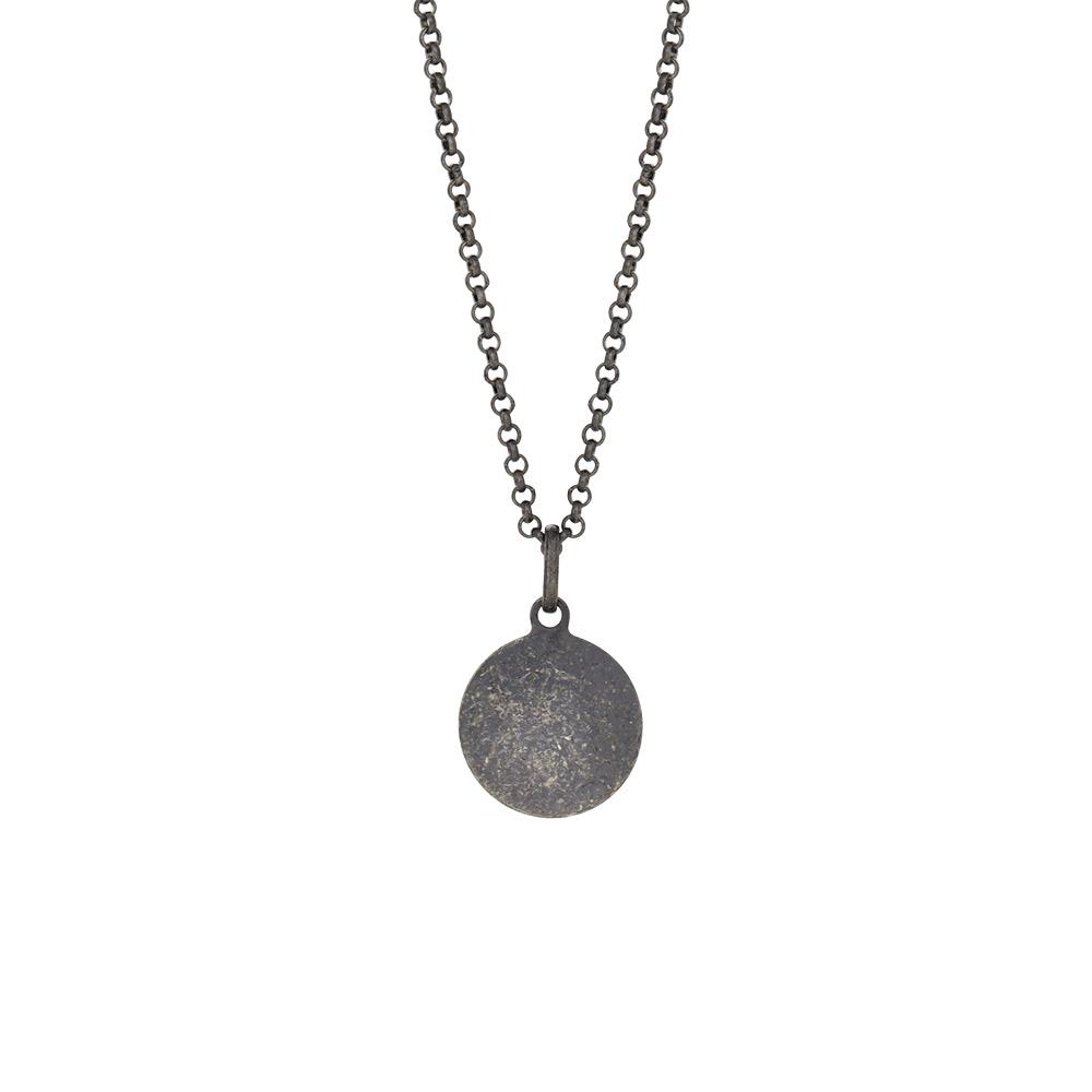 Image of SON 60 cm sort rhodineret kæde med vedhæng 15 mm - 267-002-2