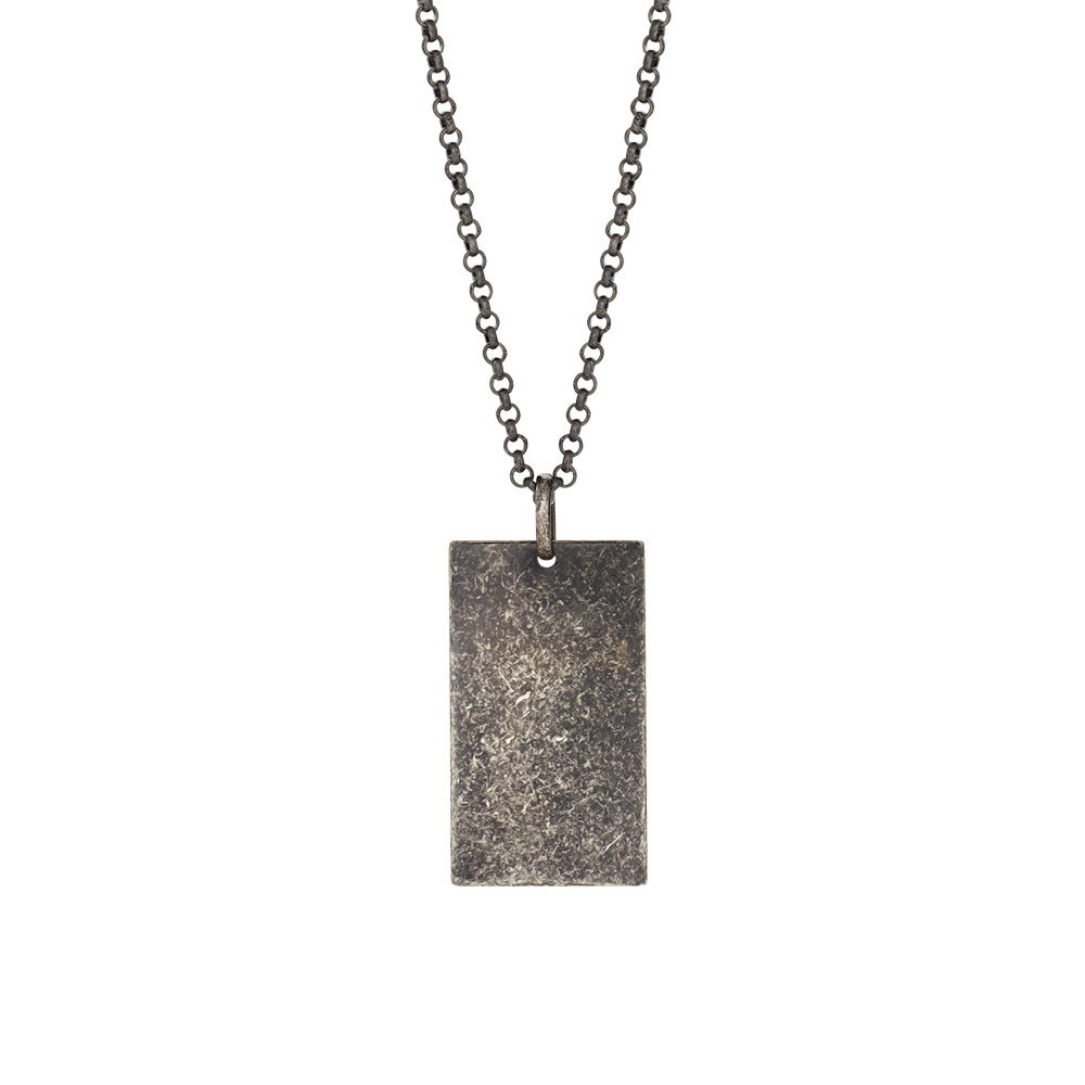 Image of SON 60 cm sort rhodineret kæde med vedhæng 29 mm - 267-003-2
