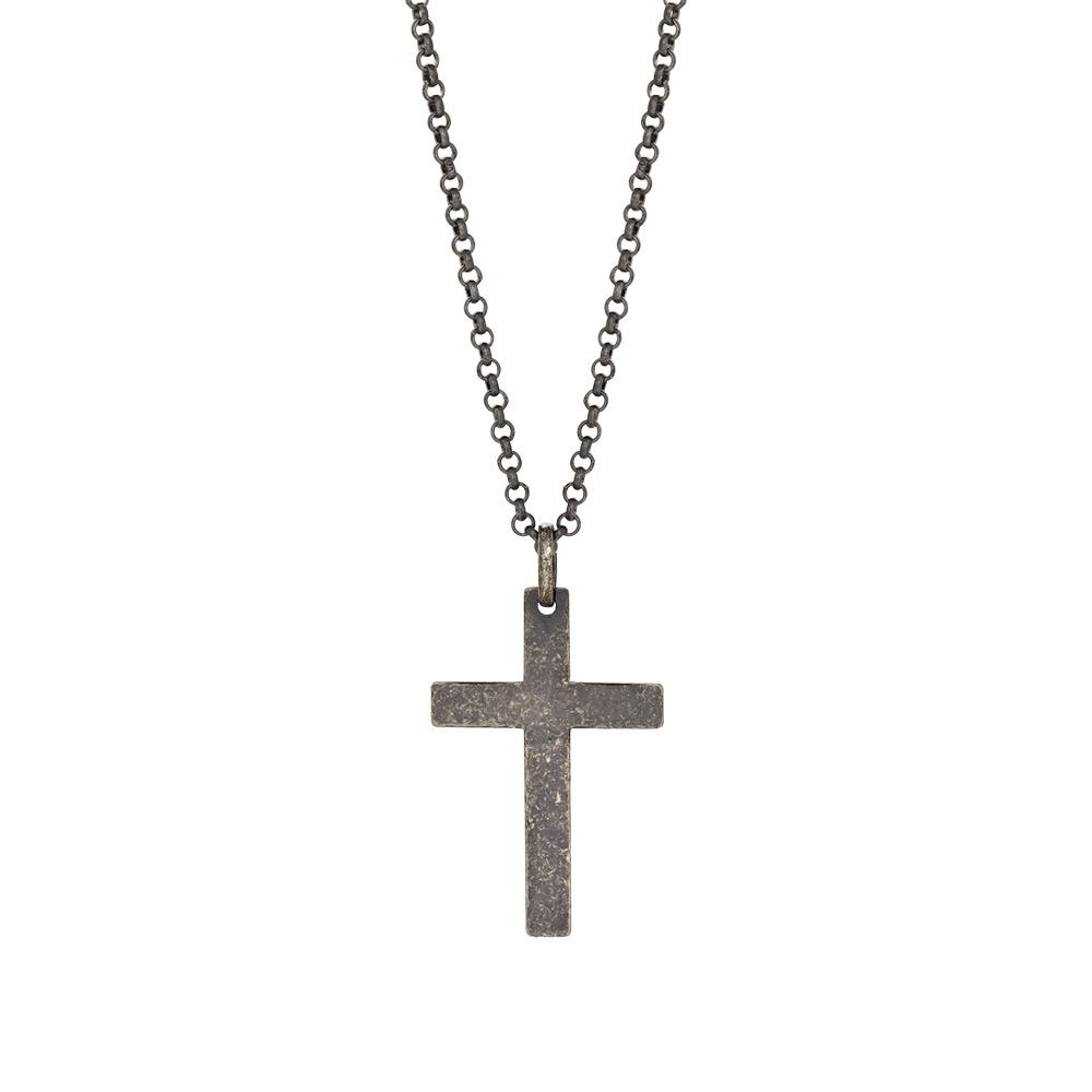 Image of SON sort rhodineret sølv halskæde 29 mm, 60 cm - 267-004-2