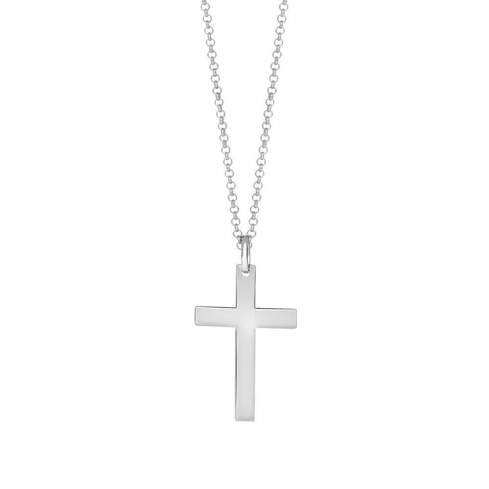 Image of SON rhodineret sølv kæde med kors 29 mm, 60 cm - 267-004