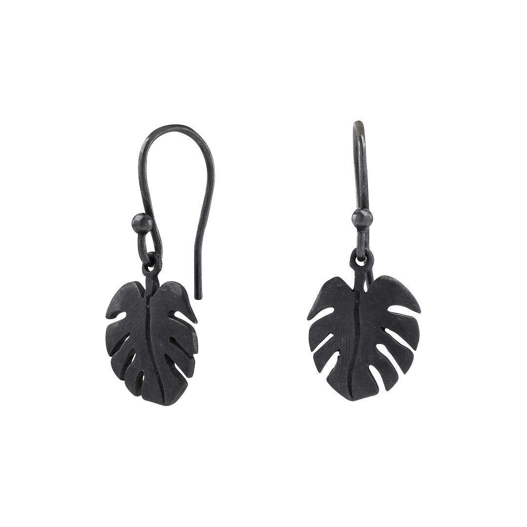 Oxideret sølv øreringe Leaf - 325 580-2