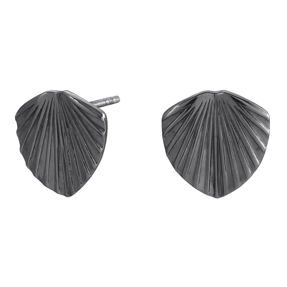 Billede af Oxideret sølv ørestikker Licuala - 325 607-2