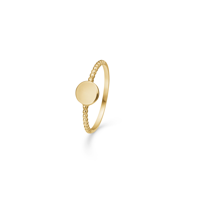 Image of   8 kt ring med rund plade - 3340187 Størrelse 54