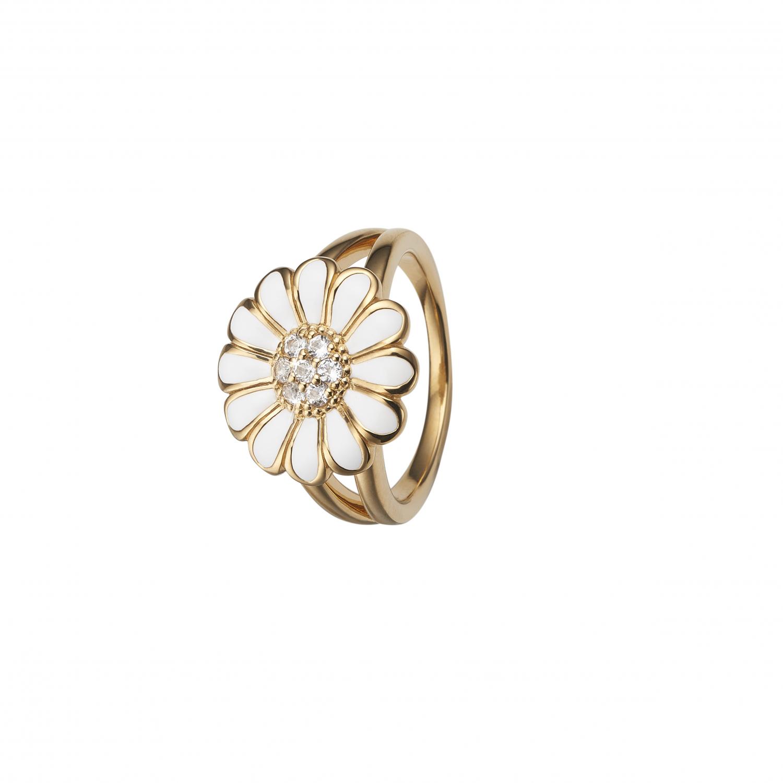 CHRISTINA White Marguerite ring 16 mm - 4.6B Størrelse 53