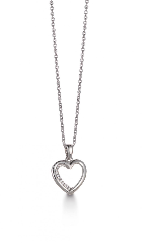 Image of   Aagaard 14 kt vedhæng med diamanter og sølv kæde - 44333715-45
