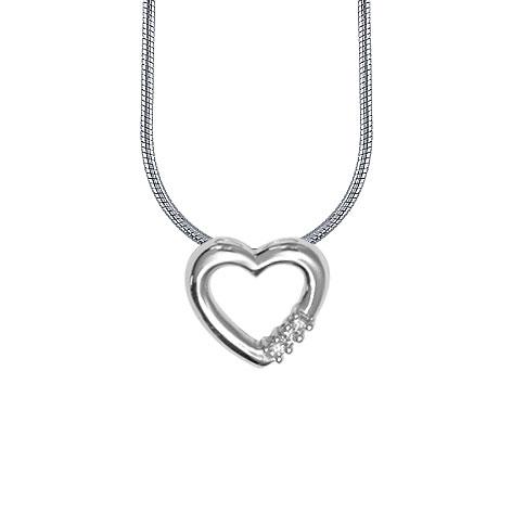 Image of   14 kt hvidguld vedhæng med diamanter og kæde - 4433414-42K