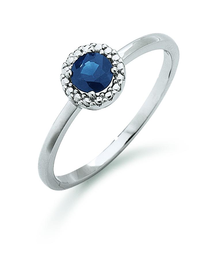 Image of   Aagaard 14 kt hvidguld ring med safir - 44633475-28 Størrelse 54