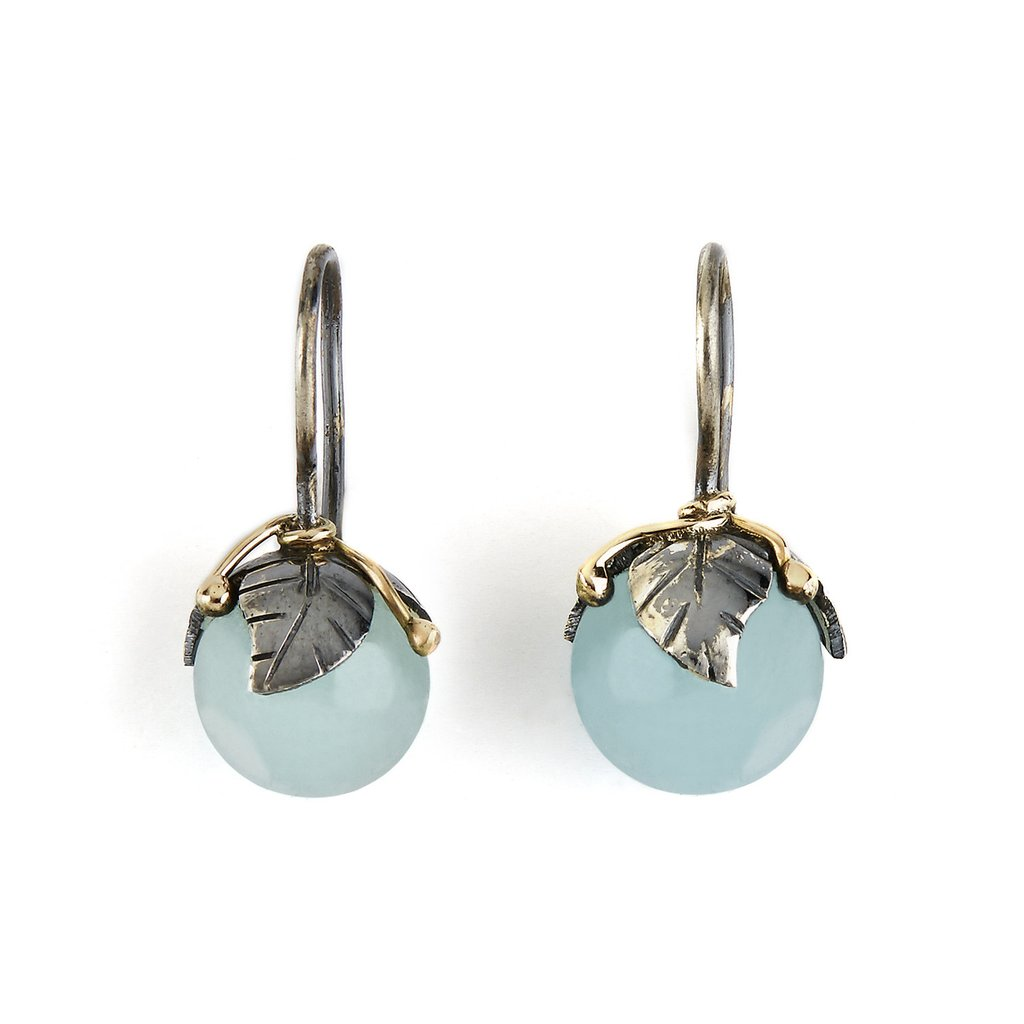 Image of   By Birdie Earring Urban Leaf Drops Aquamarine - 50801235F