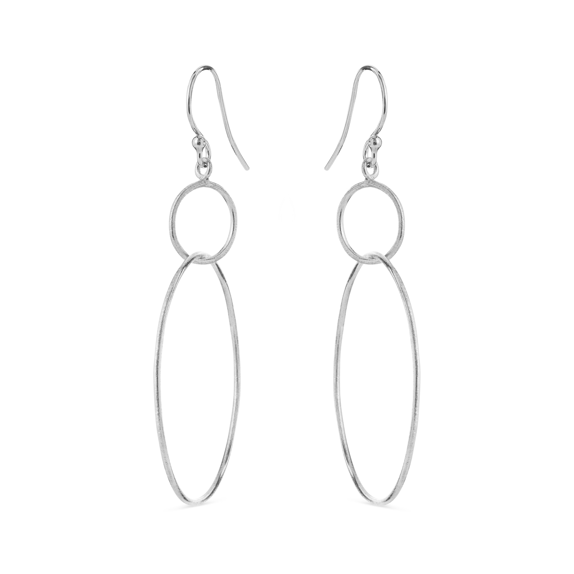 Image of   Sølv øreringe med 2 cirkler - 5575-1