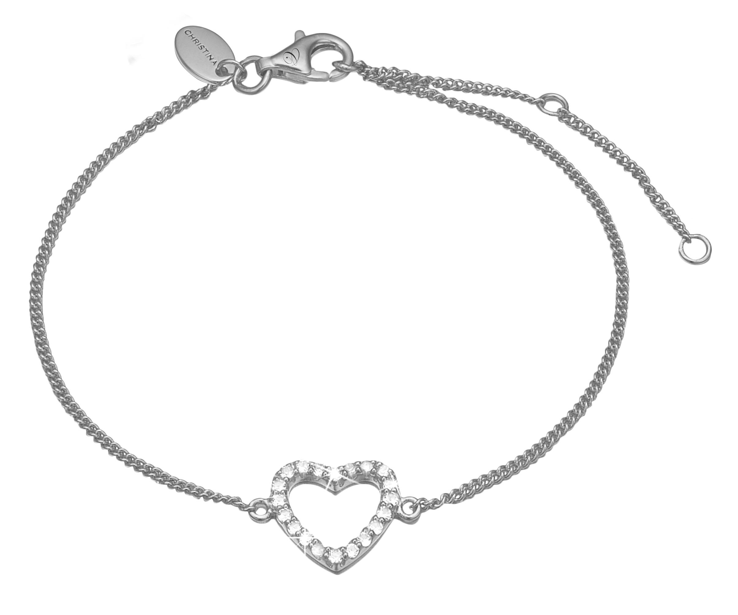 Image of   CHRISTINA Sølv Armlænke Topaz Heart - 601-S15