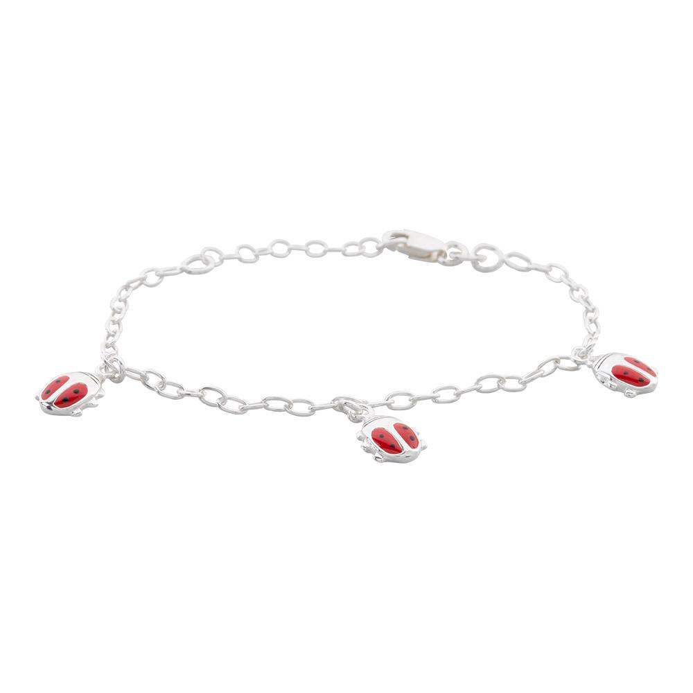 Image of   Sølv armbånd med tre mariehøns - 8250469
