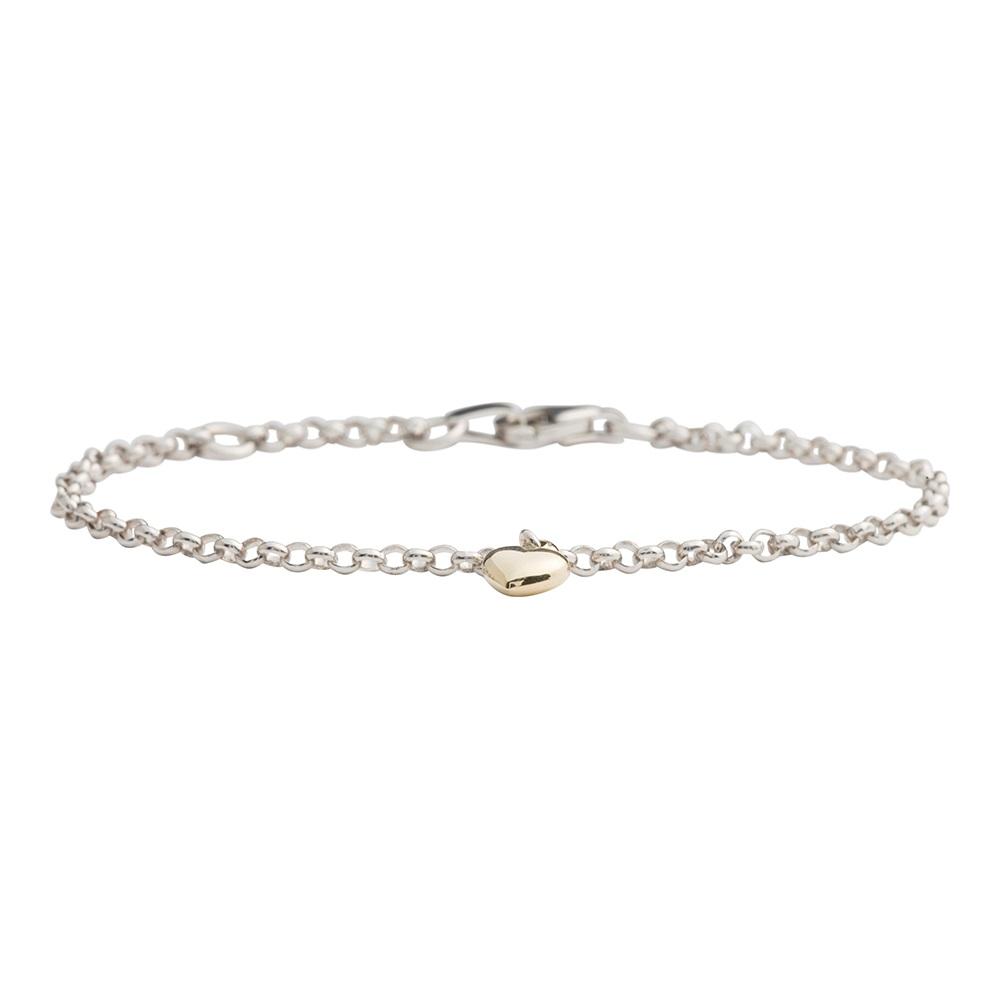 Image of   Sølv armbånd med 8 kt hjerte - 882 501 9