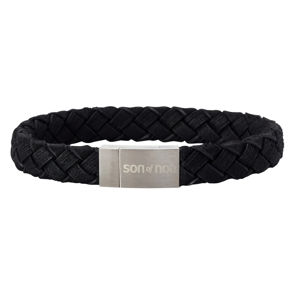 SON Herre armbånd sort kalvelæder 21 cm - 897003-BLACK21