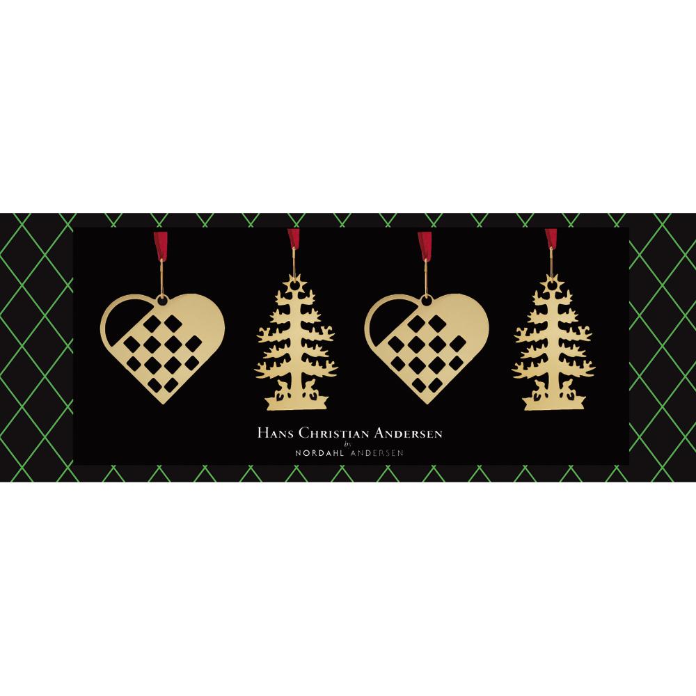 nordahl andersen – 4 stk hjerte og grantræ ophæng i forgyldt fra brodersen + kobborg
