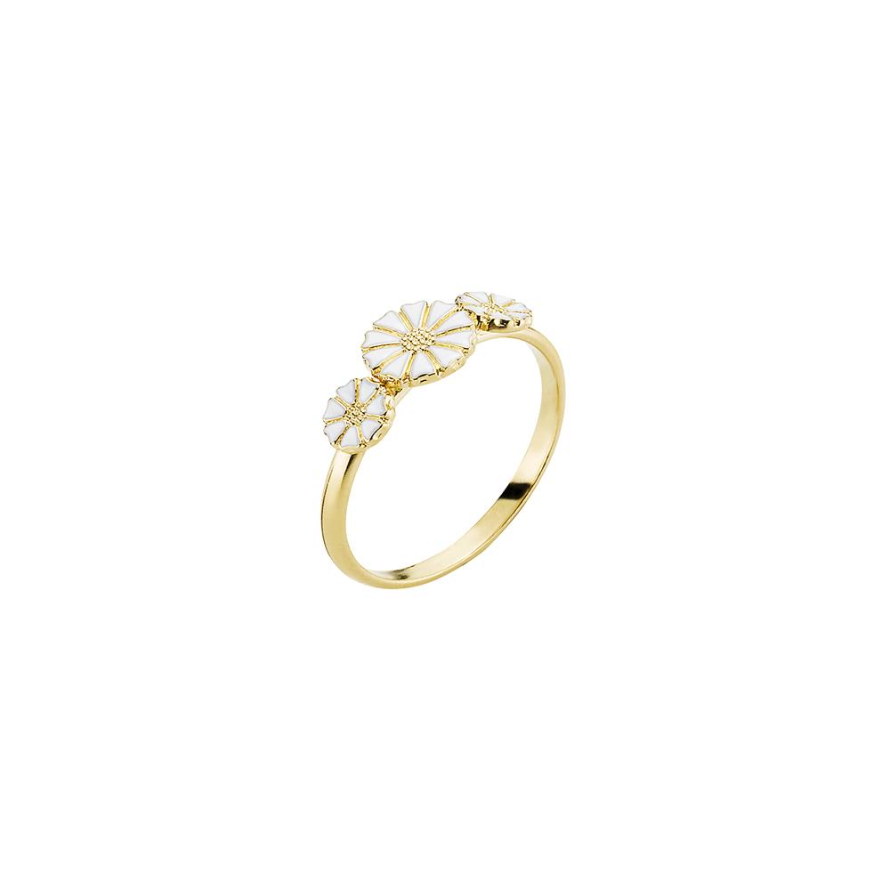 LUND Copenhagen Marguerit Ring Med 3 Blomster - 907075-3-M Forgyldt 54