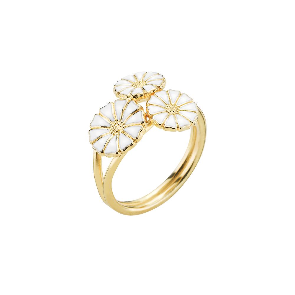 Lund Copenhagen marguerit ring med 3 blomster - 907007-M Forgyldt 56