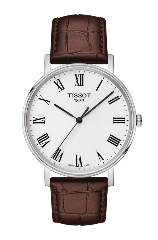 Image of   Tissot Everytime i stål med brun læderrem - T1094101603300
