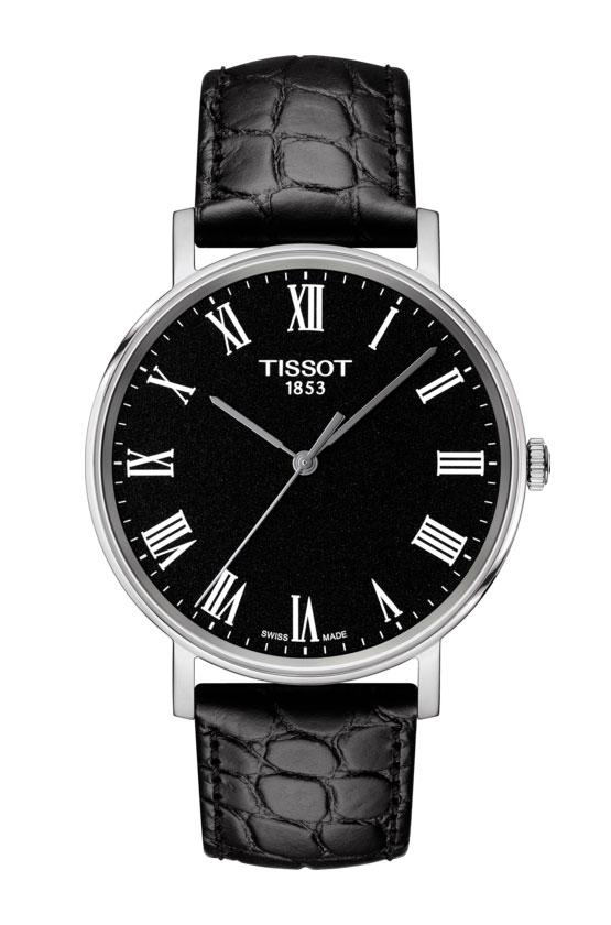 Image of   Tissot Everytime i stål med sort læderrem - T1094101605300