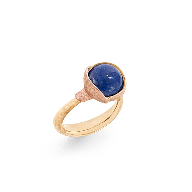 ole lynggaard – Ole lyngaard lotus ring i 18 kt med lapis lazuli - a2651-427 størrelse 56 på brodersen + kobborg