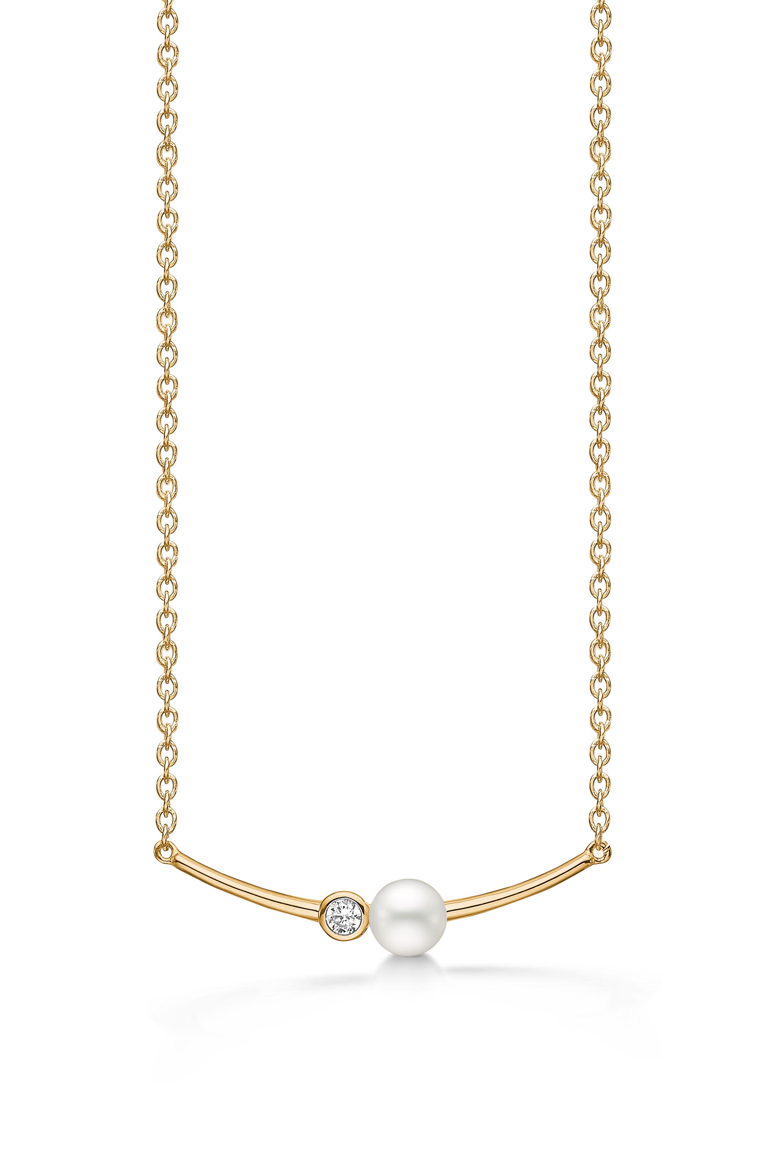 Billede af Aagaard Forgyldt sølv halssmykke med perle - 03332771-42