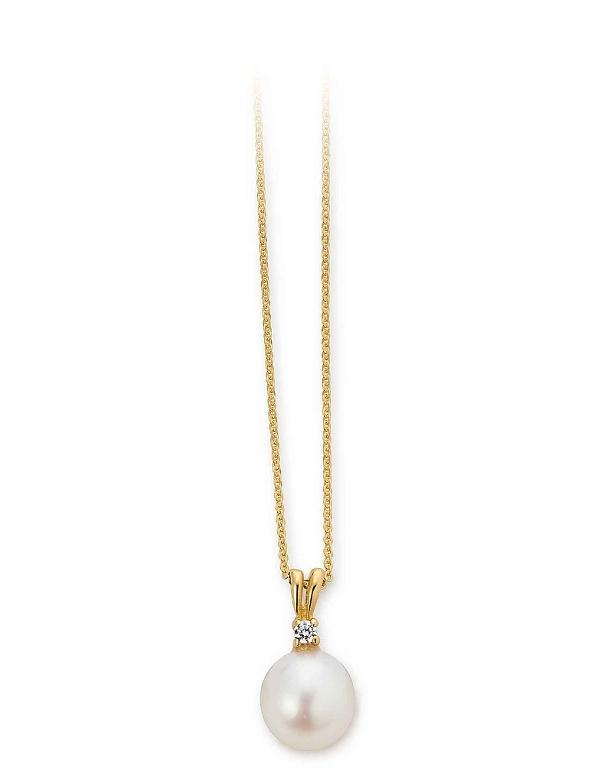 aagaard – 8 kt vedhæng med perle, zirkonia og forgyldt kæde - 04331552-45 fra brodersen + kobborg