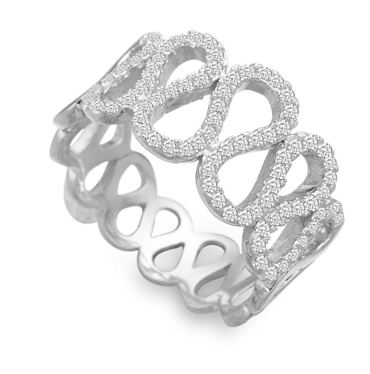 Image of   Rhodineret sølv ring med zirkonia - 21621662-75 Størrelse 60