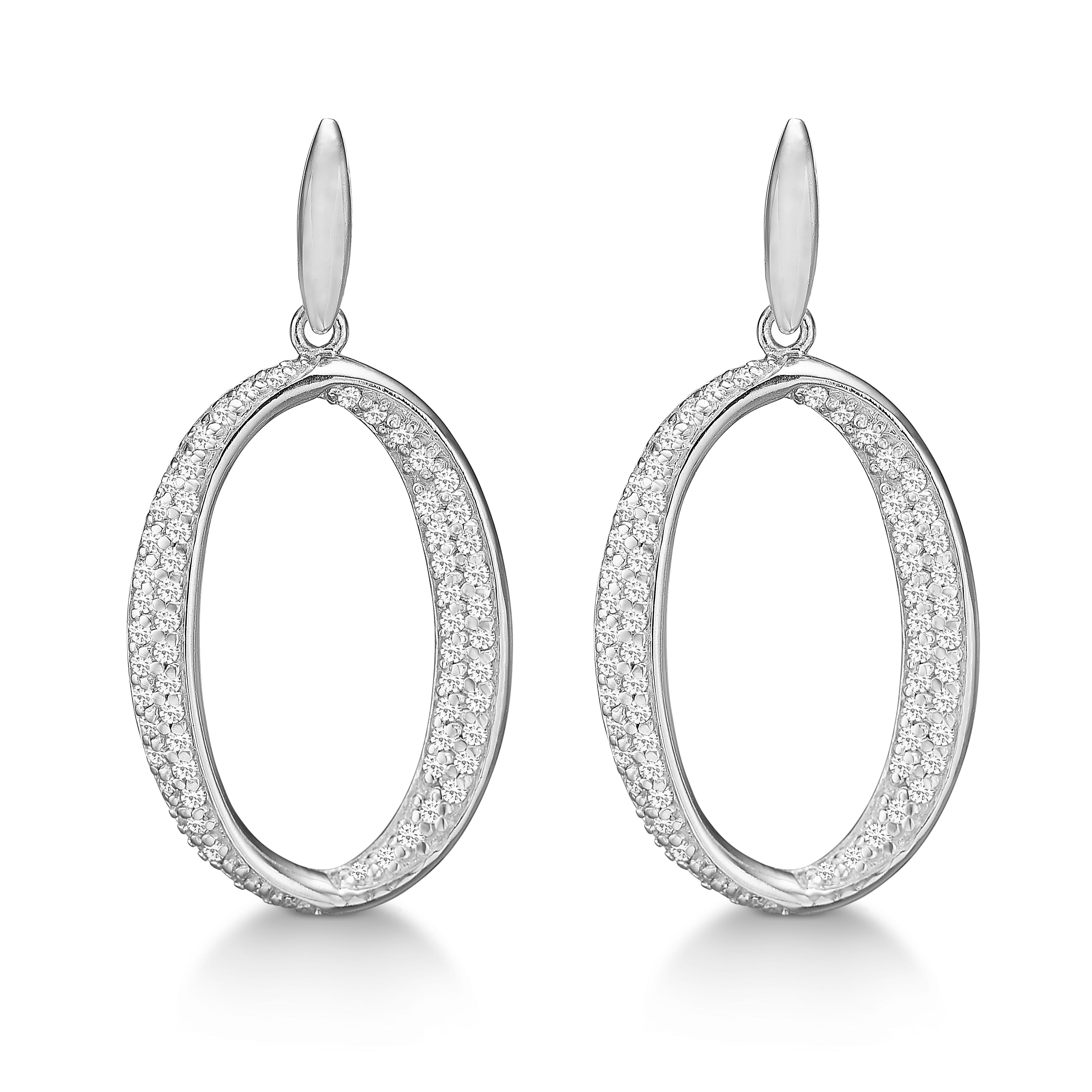 Billede af Rhodineret sølv ørestikker med zirkonia - 21972288-75