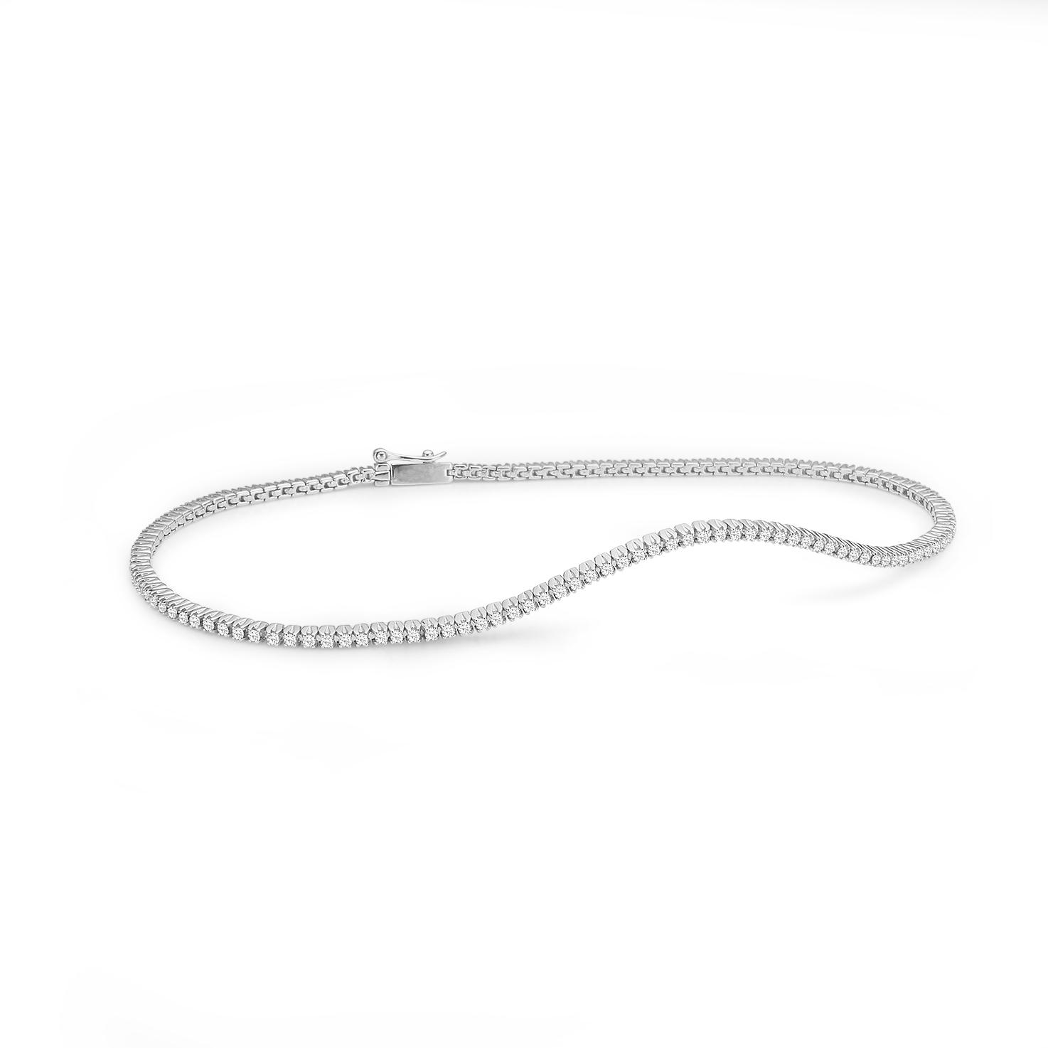 Image of   Aagaard 14 kt hvidguld armbånd med diamanter - 44101797-18 18 centimeter