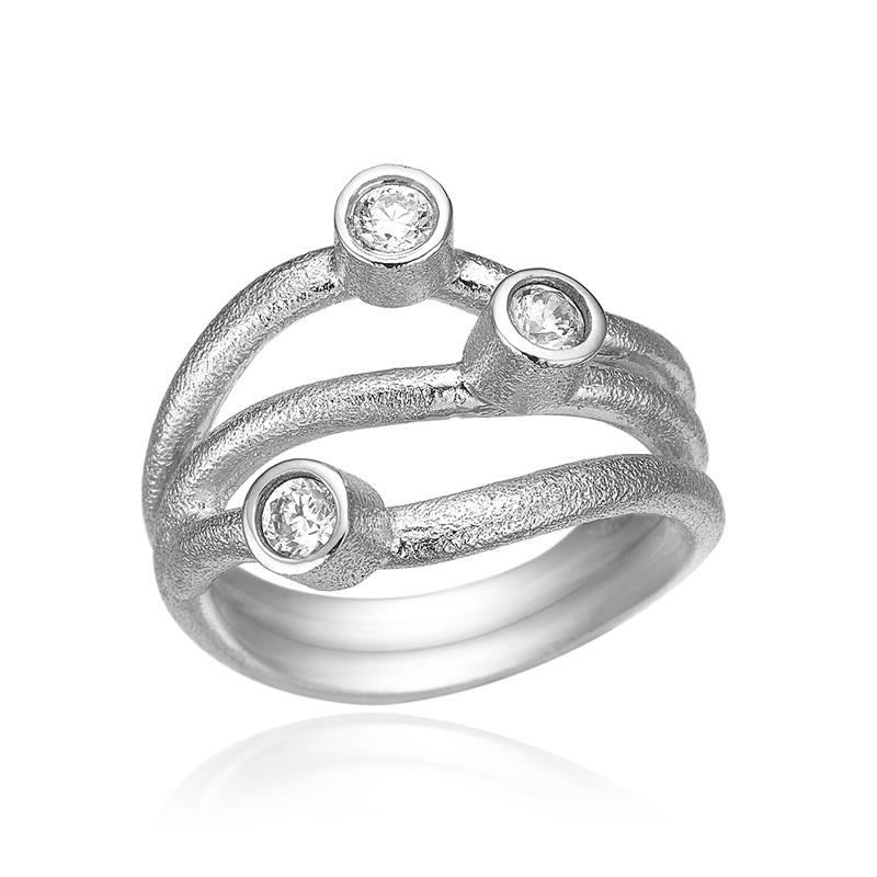 blicher fuglsang Blicher fuglsang sølv ring med zirkonia - 1237-39r størrelse 64 på brodersen + kobborg