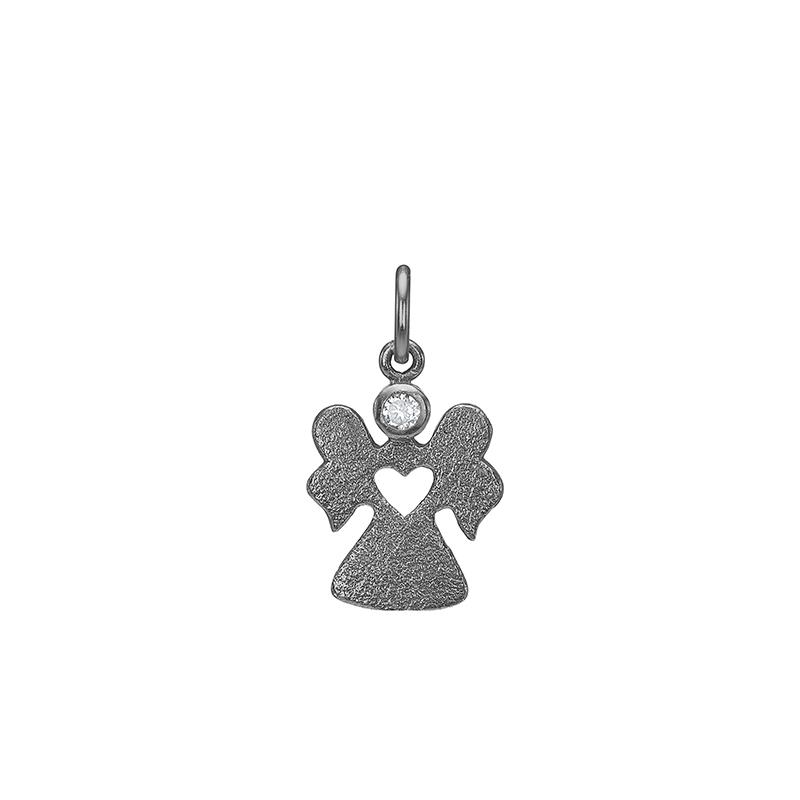 Blicher fuglsang oxideret sølv vedhæng engel - 2493-00x fra blicher fuglsang fra brodersen + kobborg